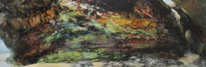 Sarah Adams, Waterfall Cave, oil on linen, 75 x 225cm
