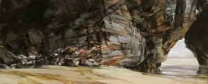 Sarah Adams, 'Diggory's Arch: spring tide study 2, oil on board, 18 x 43 cm