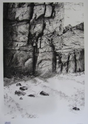 Kit Surrey, 'Rock Faces IV, Craig yr Creigwyr, St.David's Head, North Pembrokeshire', charcoal and pencil