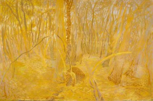 'Christmas Woods', chalk on paper, 67 x 102 cm